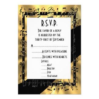 Negro y oro R S V P que se casa formal Invitacion Personalizada