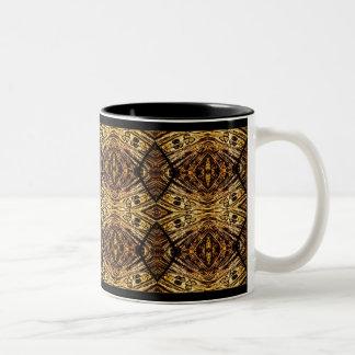 Negro y oro taza de café de dos colores