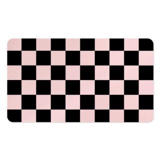 - Negro y pálido - rosa a cuadros Tarjetas De Visita
