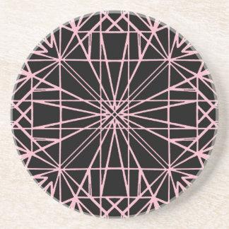 Negro y pálido - simetría geométrica rosada posavasos de arenisca
