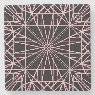 Negro y pálido - simetría geométrica rosada posavasos de piedra