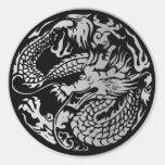 Negro y pegatina chino del dragón de la plata
