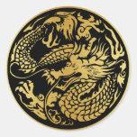 Negro y pegatina chino del dragón del oro