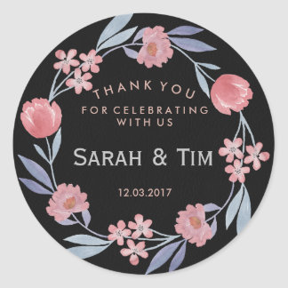 Negro y pegatina floral del boda del oro color de