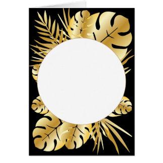 Negro y plantilla tropical elegante de las hojas tarjeta de felicitación