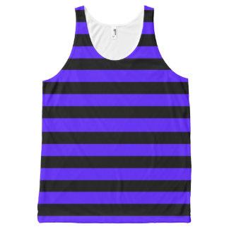 Negro y púrpura rayados camiseta de tirantes con estampado integral