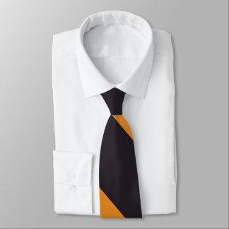 Negro y raya amplia anaranjada de la universidad corbata personalizada