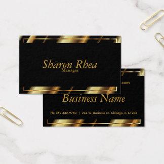 Negro y rayas diagonales metálicas del oro tarjeta de negocios