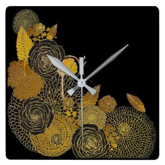 Negro y reloj de pared del cuadrado del diseño