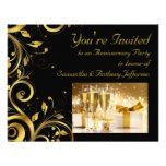 Negro y remolino del oro, fiesta de aniversario de invitacion personal