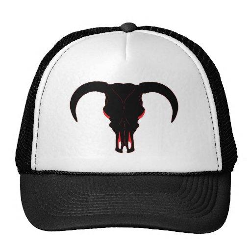 Negro y rojo del cráneo de Bull Gorras