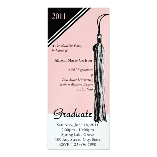 Negro y rosa de la borla de la graduación anuncio personalizado