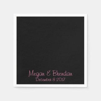 Negro y rosa servilleta de papel