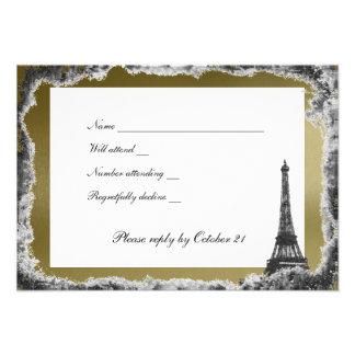 Negro y rsvp de la torre Eiffel del oro con los so Invitaciones Personales
