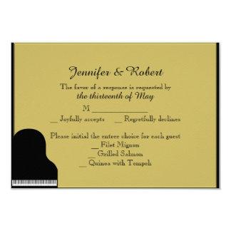 Negro y tarjeta de la respuesta del boda del piano invitación 8,9 x 12,7 cm