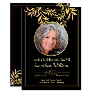 Negro y tarjeta de programa fúnebre del oro invitación 12,7 x 17,8 cm