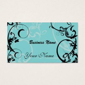 Negro y tarjeta de visita floral de la turquesa