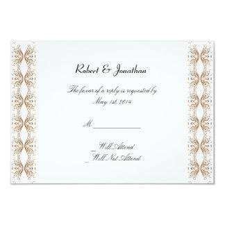 Negro y tarjeta gay de la respuesta del boda del invitación 8,9 x 12,7 cm