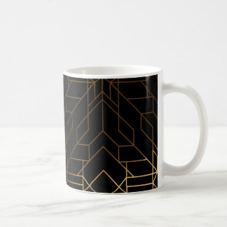 Negro y taza de café gráfica linear azteca del oro