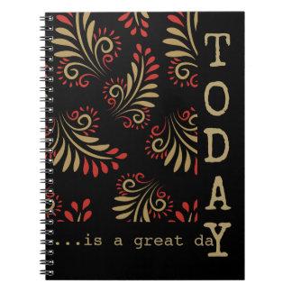 Negro y tipografía inspirada de las palabras del cuaderno