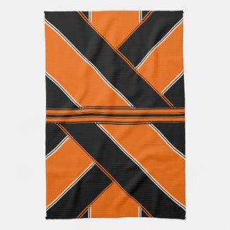 Negro y toalla de cocina modelada naranja
