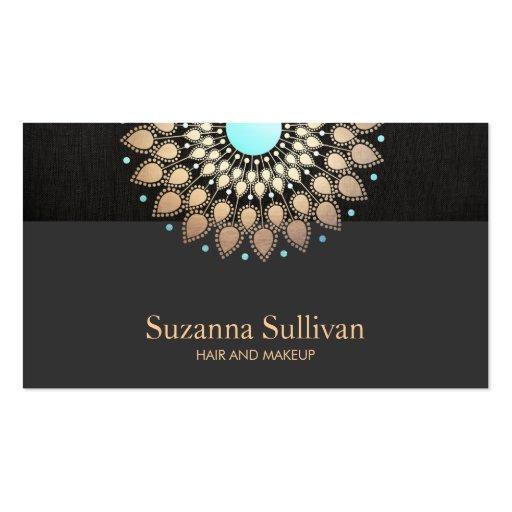 Negro y turquesa del oro del salón de belleza de l tarjeta de visita