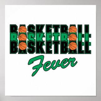 negro y verde del baloncesto impresiones