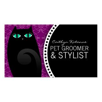 Negro y violeta bonitos del gatito tarjetas de visita