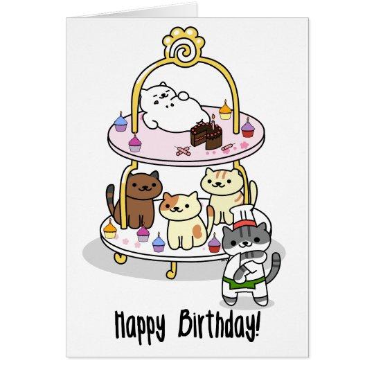 ¡Neko Atsume - cumpleaños! Tarjeta De Felicitación