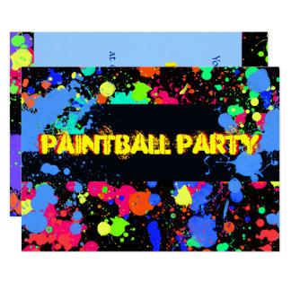 Neón brillante, colorido, invitación de Paintball