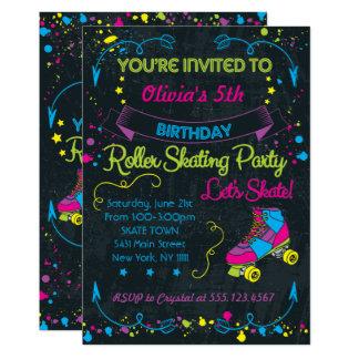 Neón, invitaciones del fiesta del patín invitación 12,7 x 17,8 cm