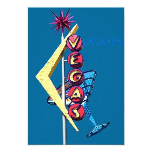 Neón Las Vegas del vintage de RSVP Invitaciones Personalizada
