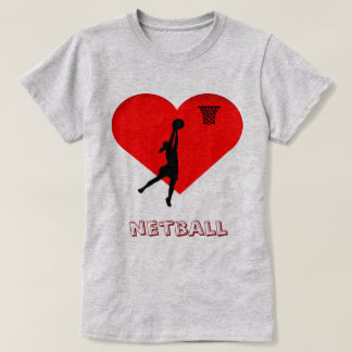 Netball del corazón del amor de la pistola de la camiseta