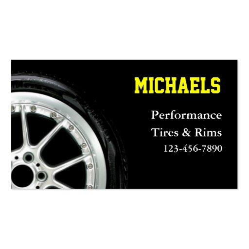 Neumáticos automotrices y ventas del borde plantillas de tarjetas de visita
