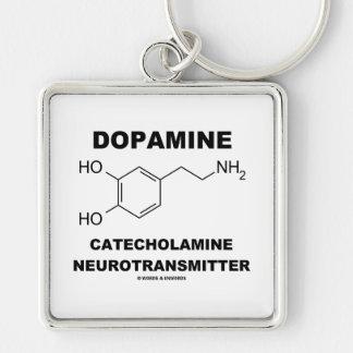 Neurotransmisor de la catecolamina de la dopamina llavero cuadrado plateado
