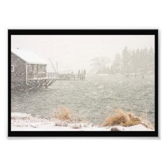 Nevada pesada en el puerto bajo, Maine Impresion Fotografica