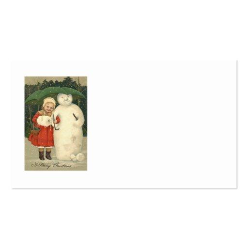 Nevadas del paraguas del chica del muñeco de nieve tarjetas de visita