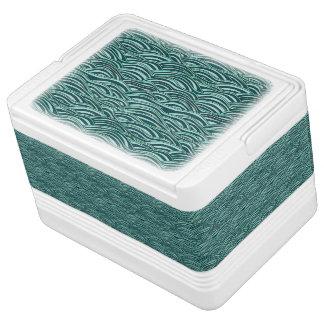 Nevera Para Bebidas Modelo de ondas verde y azul. Textura del mar