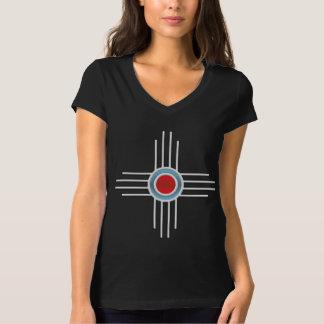 New México Zia -- Turquesa y rojo Camiseta