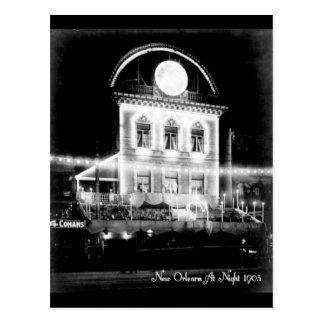 New Orleans en Night, postal 1903 del vintage