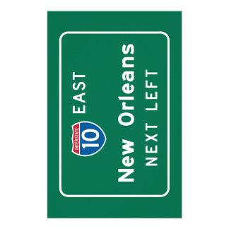 New Orleans, señal de tráfico del LA Papelería De Diseño