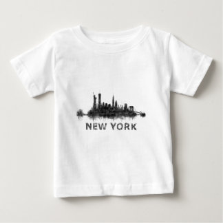 New York Dark-White Skyline v07 Camiseta De Bebé