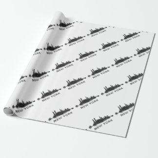 New York Dark-White Skyline v07 Papel De Regalo