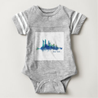 New York Skyline Watercolor blue v05 Body Para Bebé