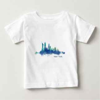 New York Skyline Watercolor blue v05 Camiseta De Bebé