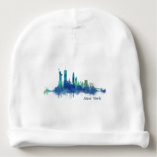 New York Skyline Watercolor blue v05 Gorrito Para Bebe