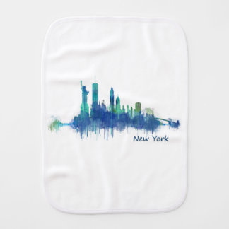 New York Skyline Watercolor blue v05 Paño Para Bebés