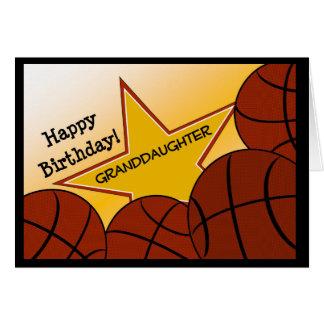 Nieta - amor del baloncesto del feliz cumpleaños tarjeta de felicitación