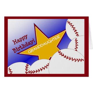 Nieta - amor del béisbol del feliz cumpleaños tarjeta de felicitación