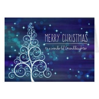 Nieta de las Felices Navidad, efecto de Bokeh y Tarjeta De Felicitación